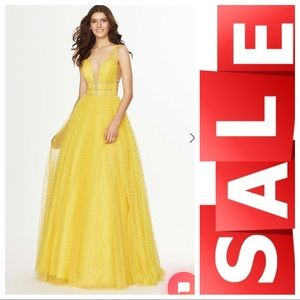 Yellow embellished ball gown